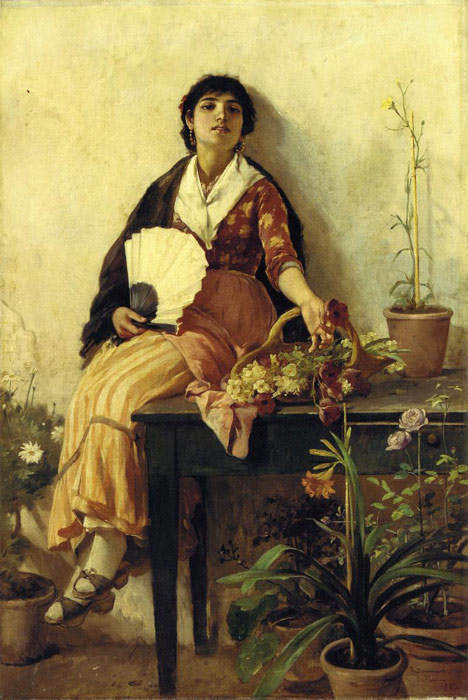 Duveneck Oil Painting Reproductions - The Florentine Girl