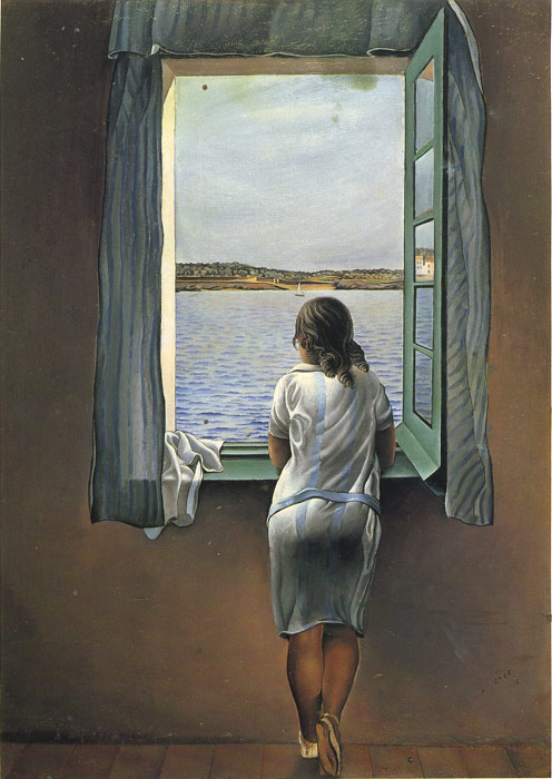 Dali Oil Painting Reproductions - Girl Standing at the Window