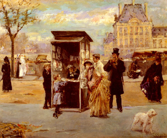 Garrido Oil Painting Reproductions- The Kiosk by the Seine