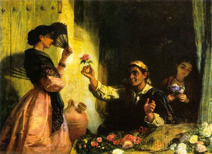 Long Oil Painting Reproductions - A Spanish Flower Seller