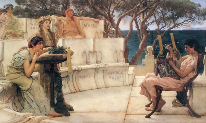 Oil Painting Reproduction of Alma-Tadema - Sappho and Alcaeus