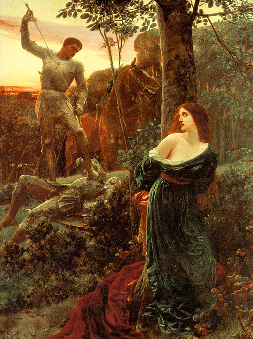 Oil Painting Reproduction of Dicksee- Chivalry