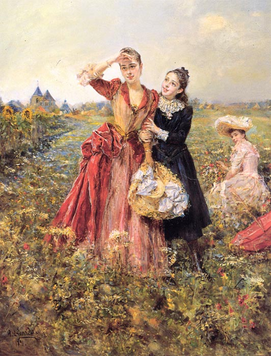 Oil Painting Reproduction of Garrido - Picking Wildflowers