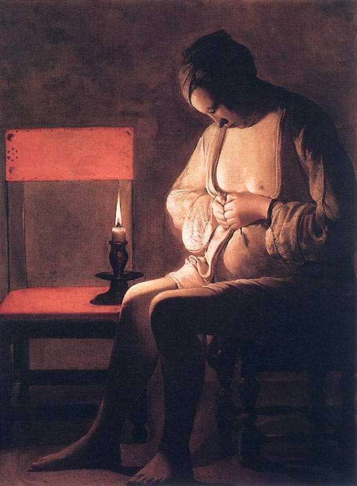 Oil Painting Reproduction of Georges de La Tour - Woman catching Fleas