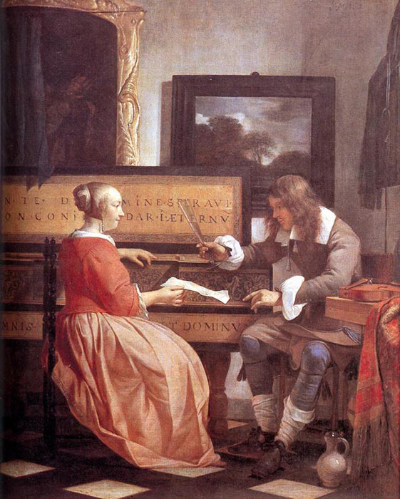 Oil Painting Reproduction of Metsu - Man and Woman Sitting at the Virginal