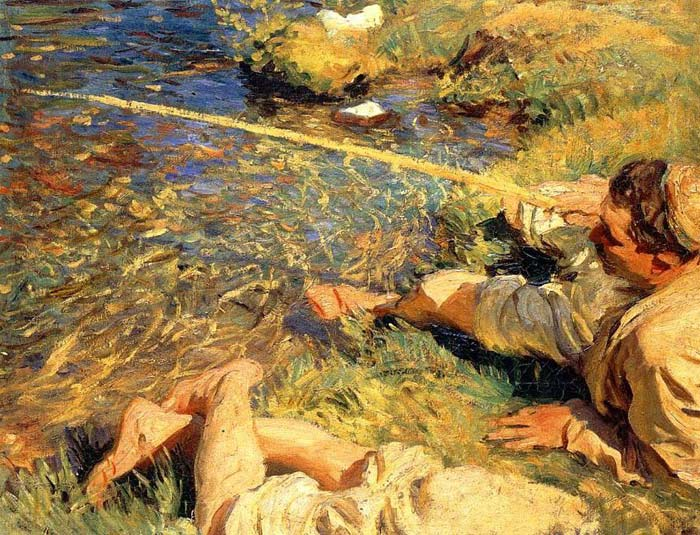 Oil Painting Reproduction of Sargent- Val dAosta Man Fishing