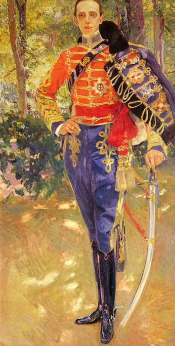 Oil Painting Reproduction of Sorolla y Bastida- Retrato del Rey Don Alfonso XIII con el uniforme de