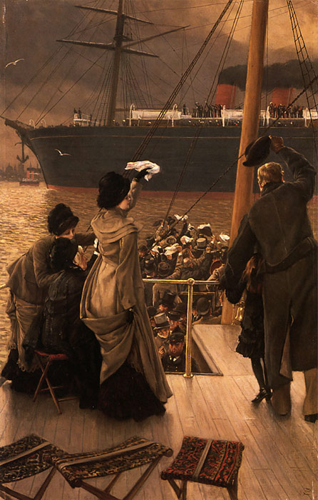 Oil Painting Reproduction of Tissot- Goodbye, on the Mersey