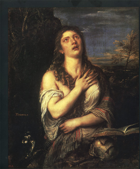 Oil Painting Reproduction of Titian- Penitent Magdalene