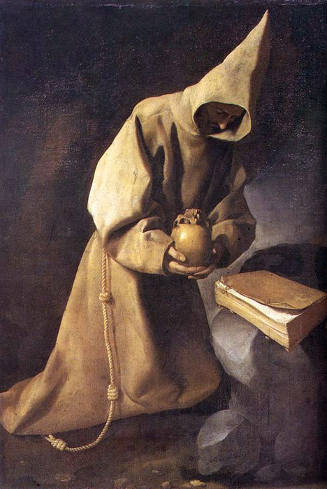 Oil Painting Reproduction of Zurbaran- Meditation of St Francis