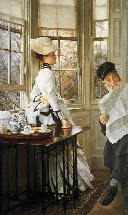 Tissot Oil Painting Reproductions- Reading the News