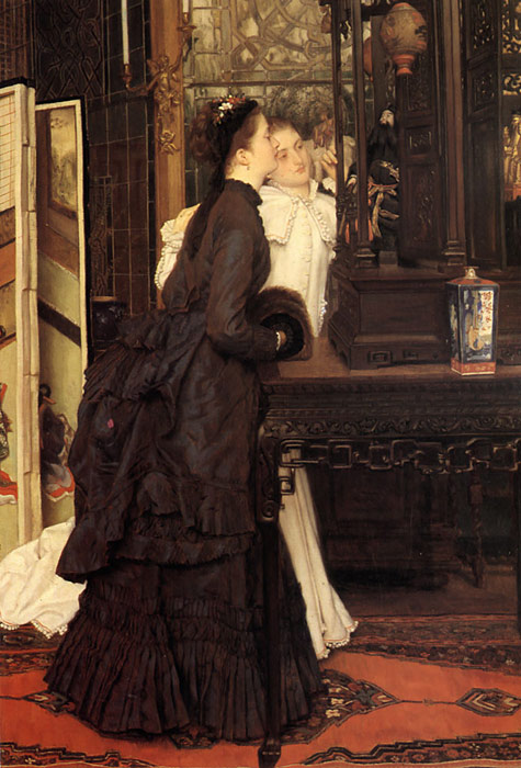 Tissot Oil Painting Reproductions - Young Ladies Looking at Japanese Objects