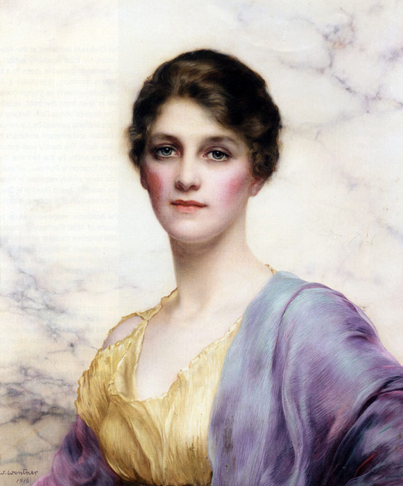 Wontner Oil Painting Reproductions - An Emerald-Eyed Beauty