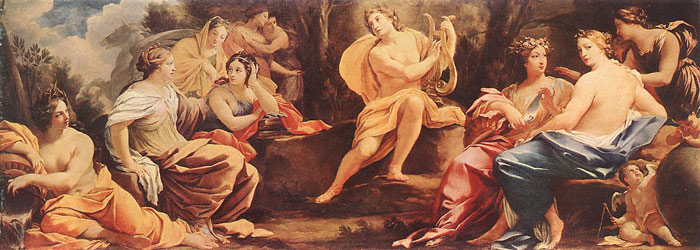 Oil Painting Reproduction of Vouet- Apollo und die Musen