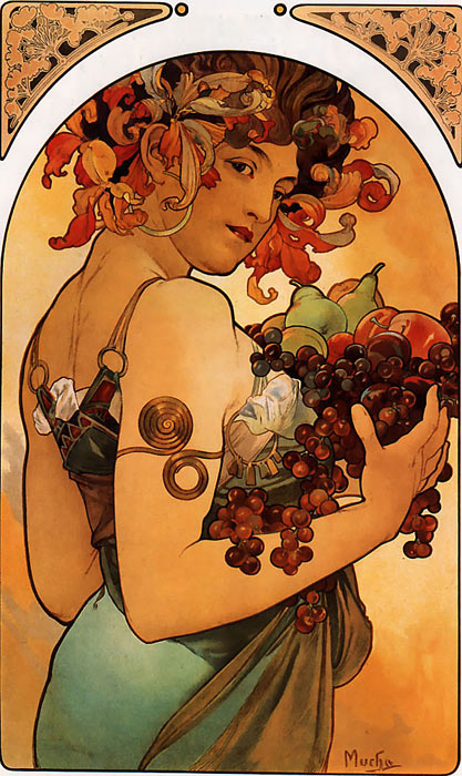 Oil Painting Reproduction of Mucha- Fruit