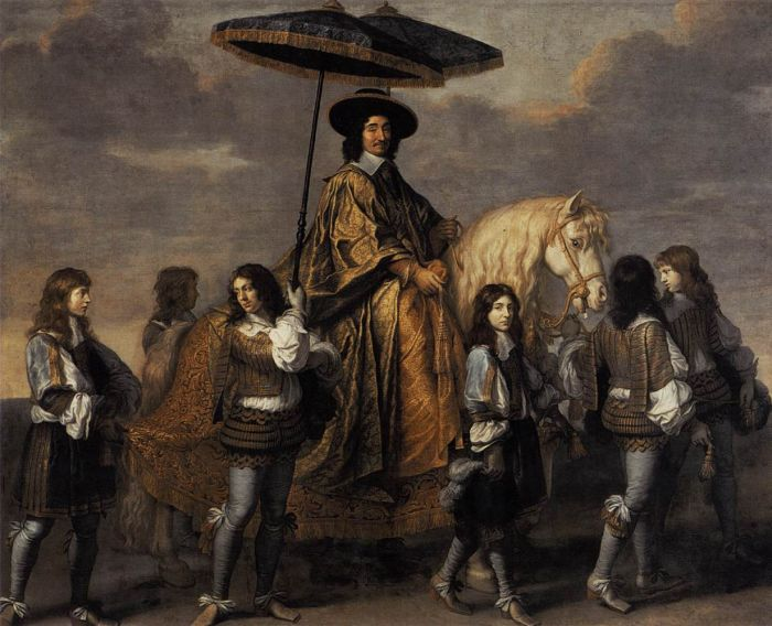 Le Brun Oil Painting Reproductions - Chancellor Seguier at the Entry of Louis XIV into Paris