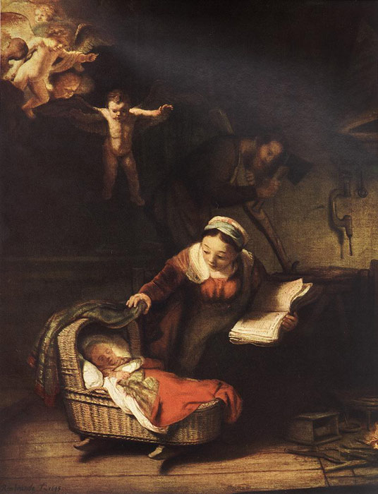 Oil Painting Reproduction of Rembrandt- The Holy Family with Angels