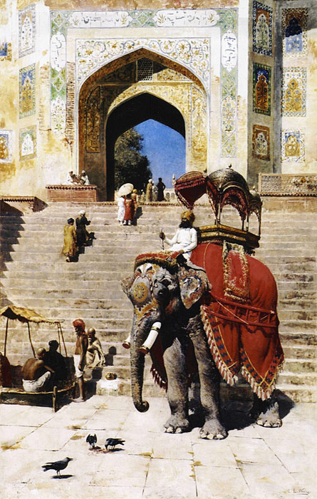 Oil Painting Reproduction of Weeks- Royal Elephant at the Gateway