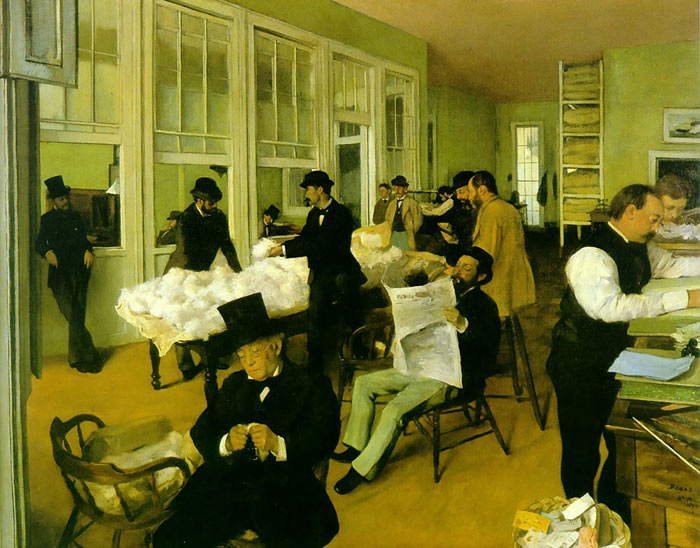 Degas Oil Painting Reproductions- Portrait in a New Orleans Cotton Office