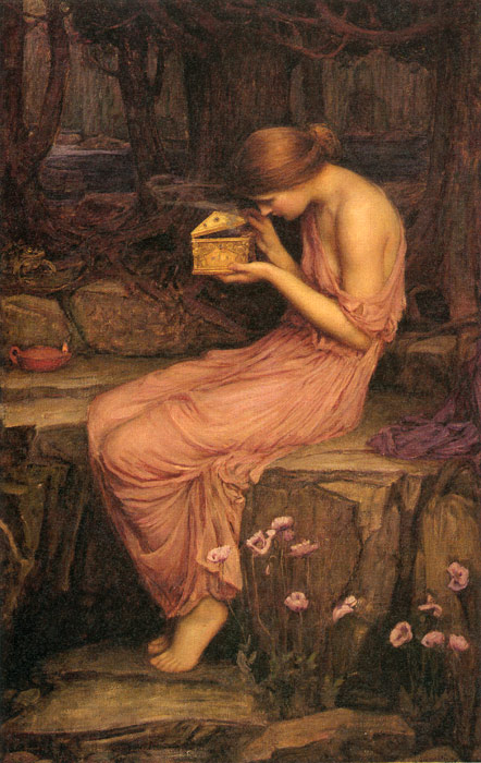Waterhouse Oil Painting Reproductions - Psyche Opening the Golden Box