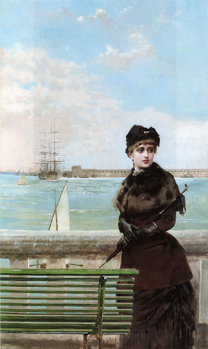Corcos Oil Painting Reproductions - An elegant Woman at St. Malo