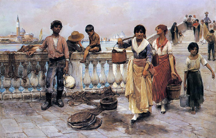 Duveneck Oil Painting Reproductions - Water Carriers, Venice