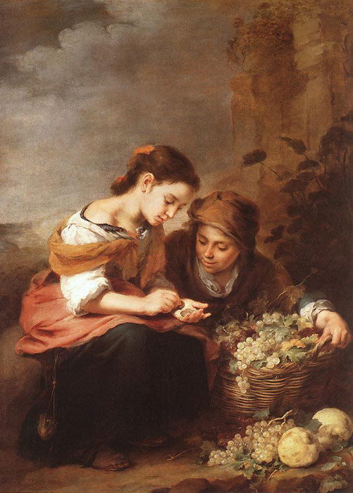 Murillo Oil Painting Reproductions - The Little Fruit Seller