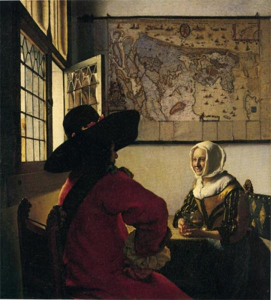 Vermeer Oil Painting Reproductions - Officer and Laughing Girl