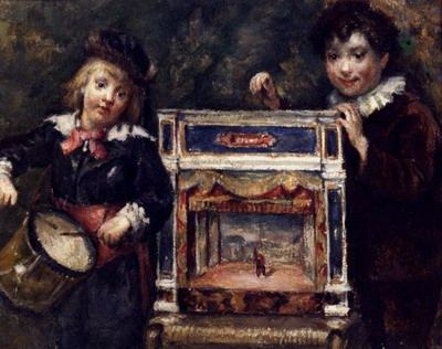 Portrait Of The Artists Two Sons With Their Puppet Theatre