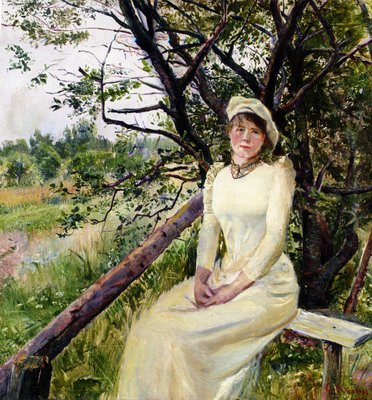 Ung Kvinne Pa En Benk, Young Woman on a Bench