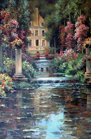 oil painting in a Garden painting reproductions Garden oil painting