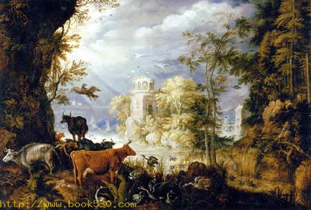 A wooded landscape with animals by a lake