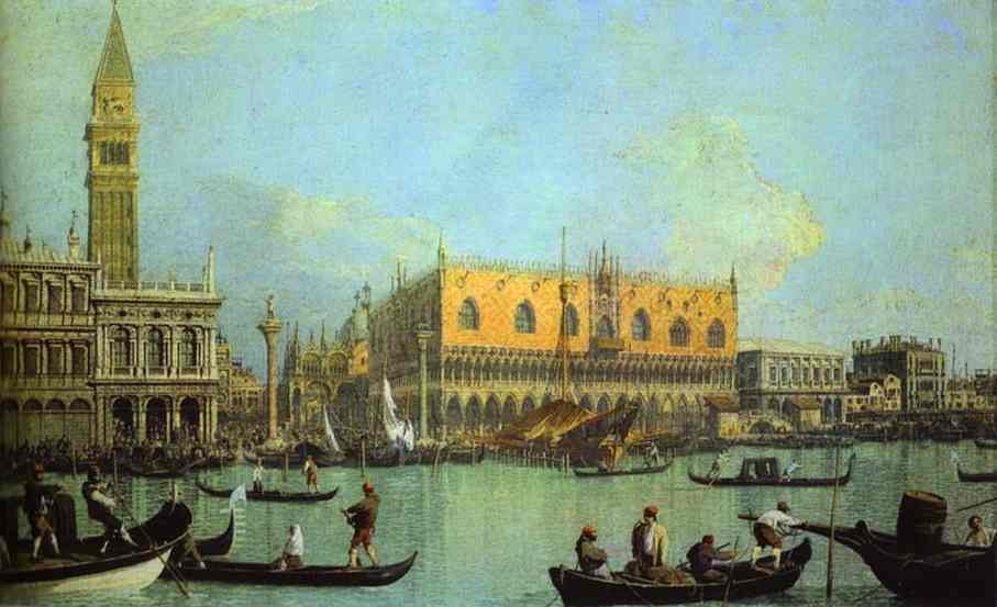 Oil painting:A View of the Ducal Palace in Venice. 1755