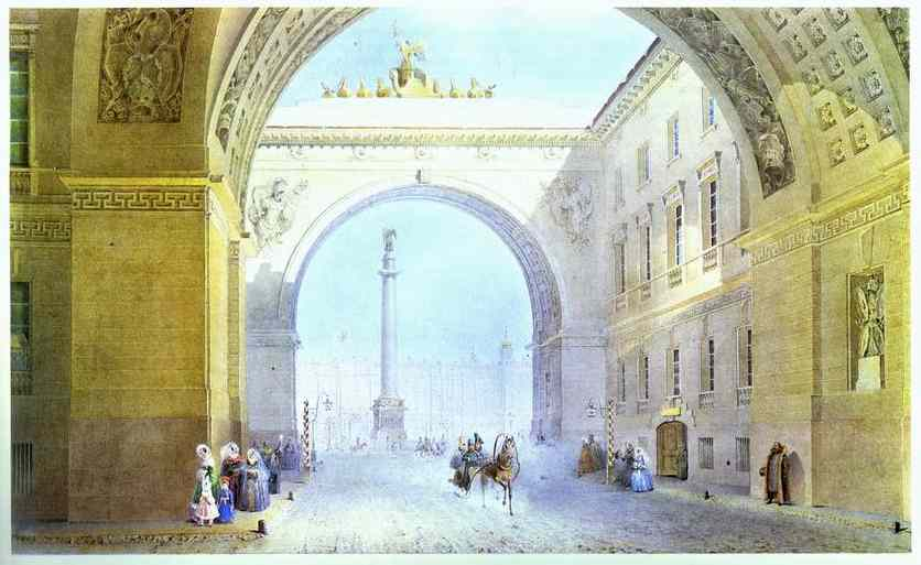 Oil painting:The Arch of the General Headquarters Building. 1830