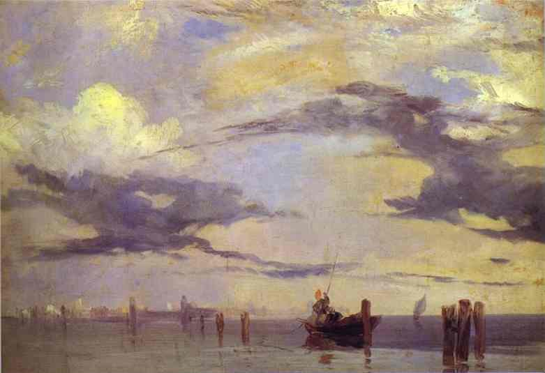 Oil painting:View of the Lagoon near Venice. Oil on canv