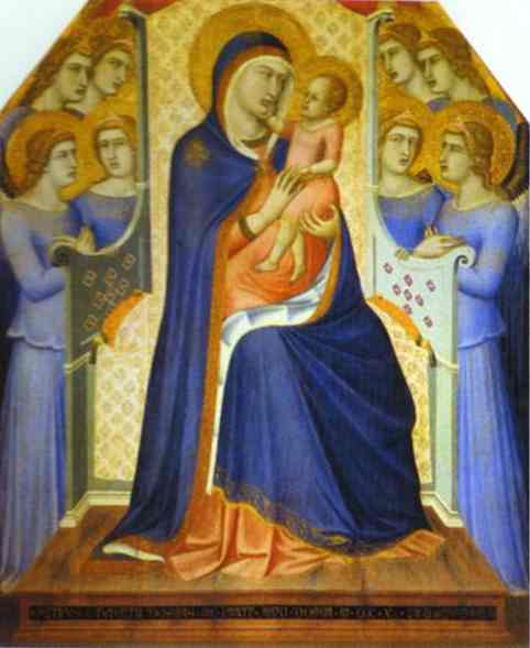 Oil painting:Madonna and Child Enthroned with Eight Angels. 1340