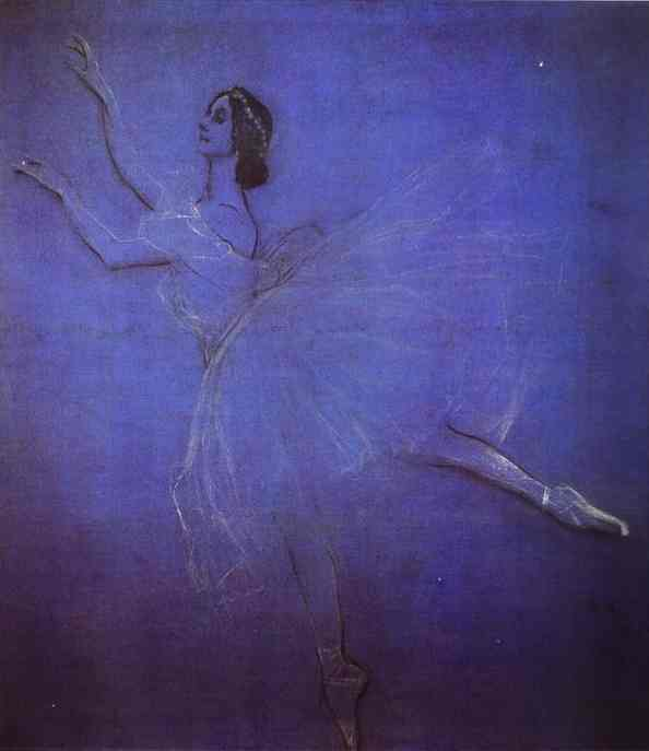 Oil painting:Anna Pavlova in the Ballet Sylphyde. 1909