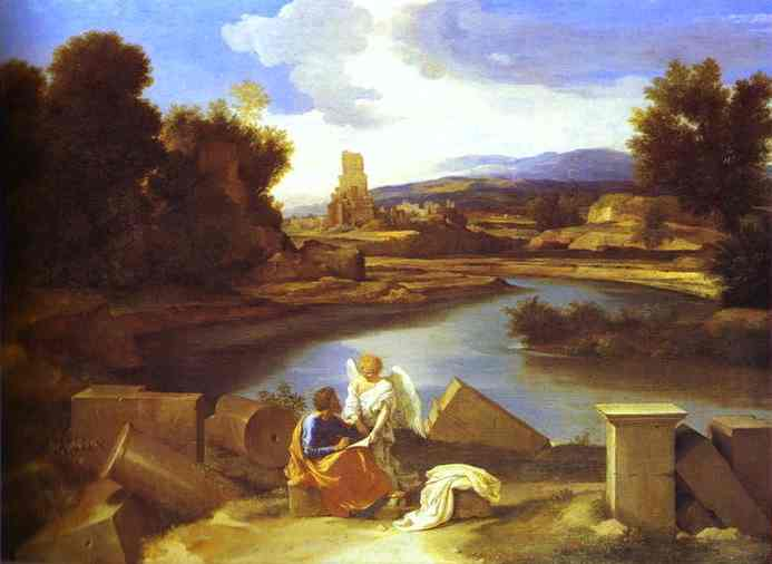 Oil painting:Landscape with St. Matthew. 1640