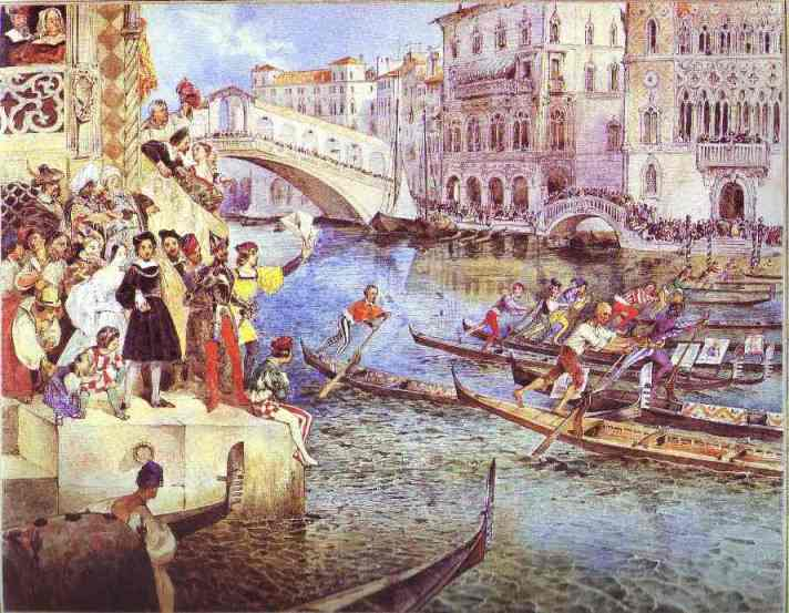 Oil painting:Gondola Races on the Grand Canal in Venice. 1830