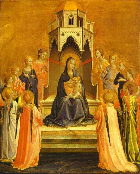 Oil painting:Madonna Surrounded by Angels. c. 1429