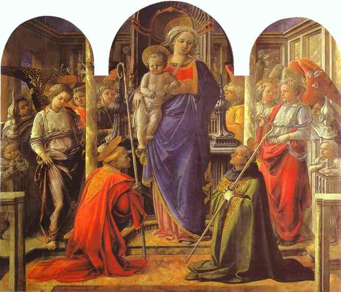 Oil painting:Virgin and Child Surrounded by Angels with St. Frediano and St. Augustine (The