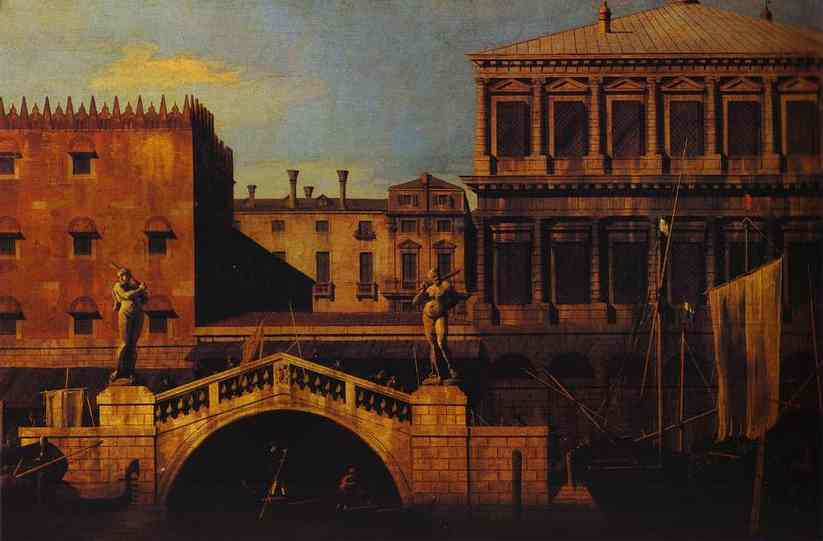 Oil painting:Capriccio: the Ponte della Pescaria and Buildings on the Quay. 1742
