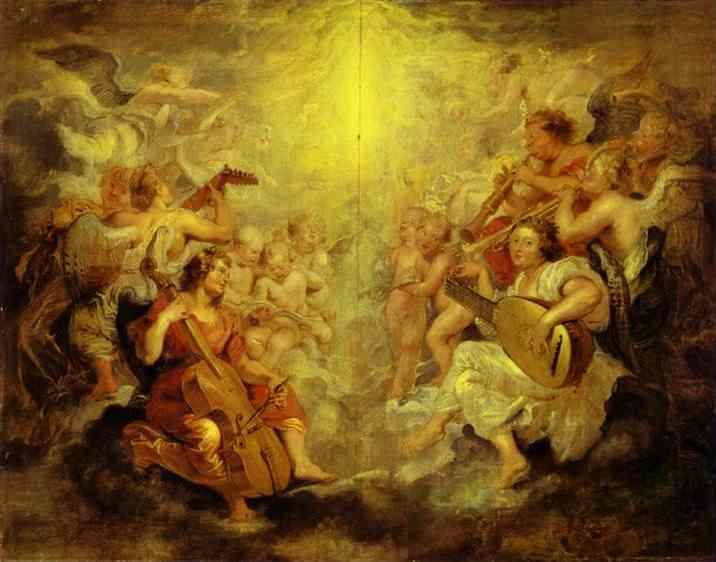 Oil painting:Music-Making Angels. c.1628