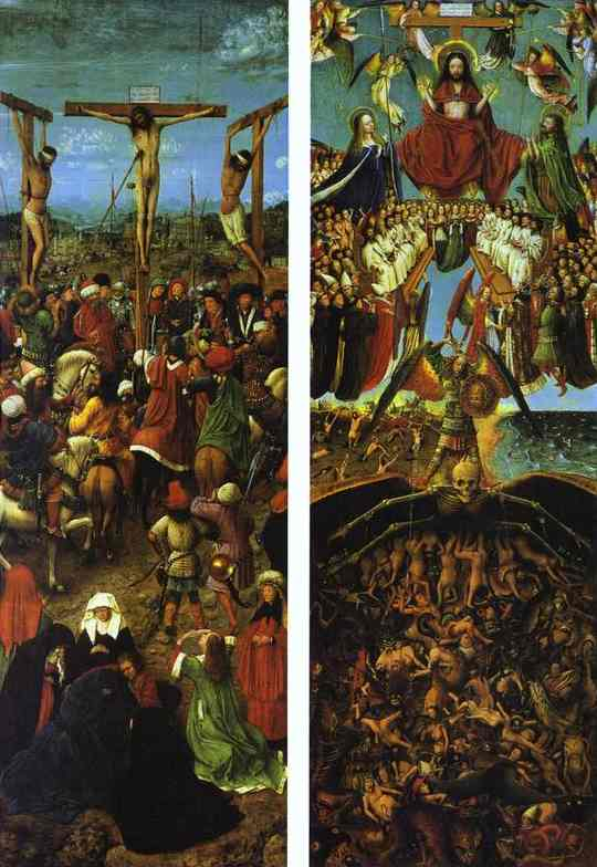 Oil painting:Hubert and Jan van Eyk. The Crucifixion. The Last Judgment. c. 1420