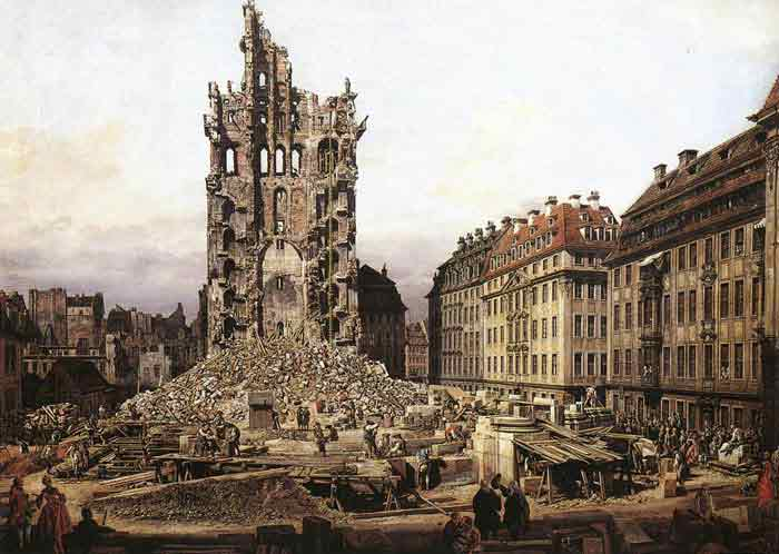 Oil painting for sale:The Ruins of the Old Kreuzkirche in Dresden, 1765