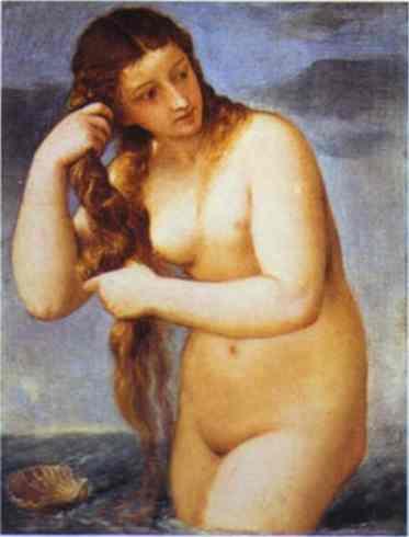 Oil painting:Venus Anadyomene. c.1520