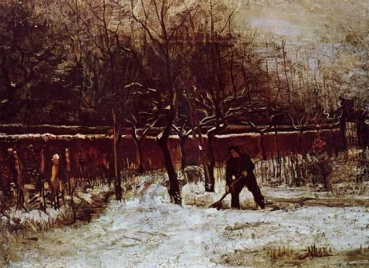 Vincent van Gogh - The Parsonage Garden at Nuenen in the Snow 2
