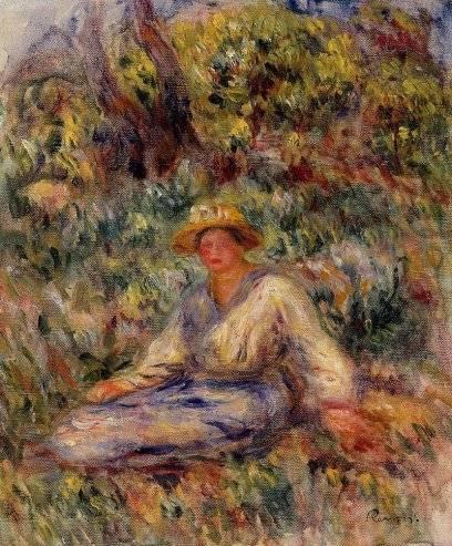 Pierre-Auguste Renoir - Woman in Blue in a Landscape