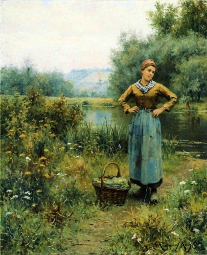 Daniel Ridgway Knight - Girl In A Landscape