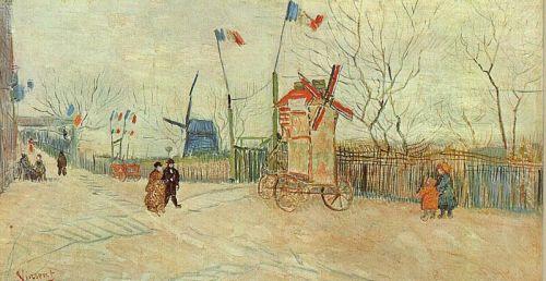 Street Scene in Montmartre - Le Moulin a Poivre